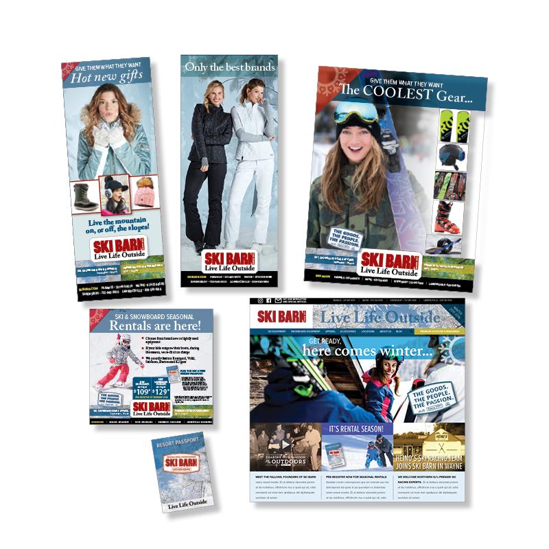 Ski Barn Ads, Materials & Website